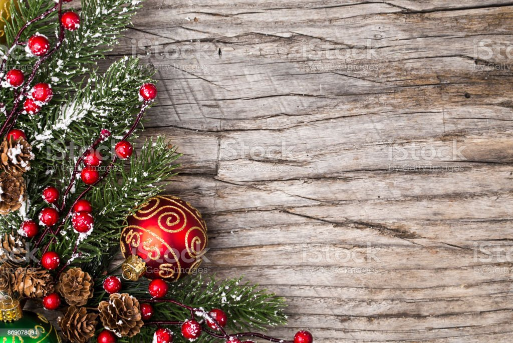 Christmas Decoration Rustic Wood Background Royalty Free Stock Photo
