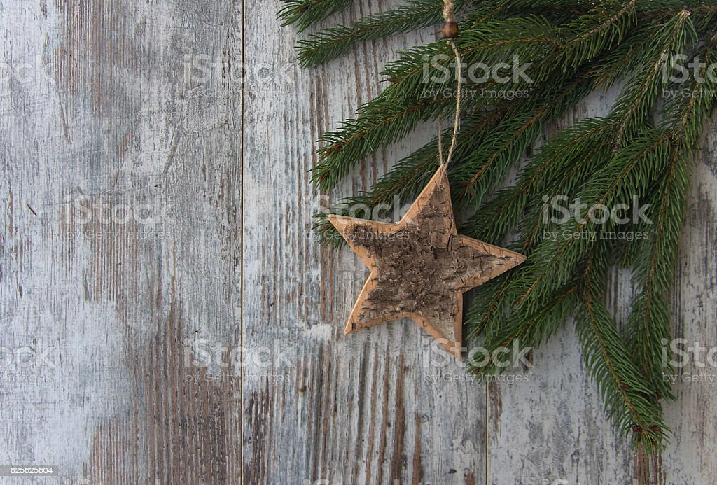 Christmas decoration, star - conifer fir tree stock photo