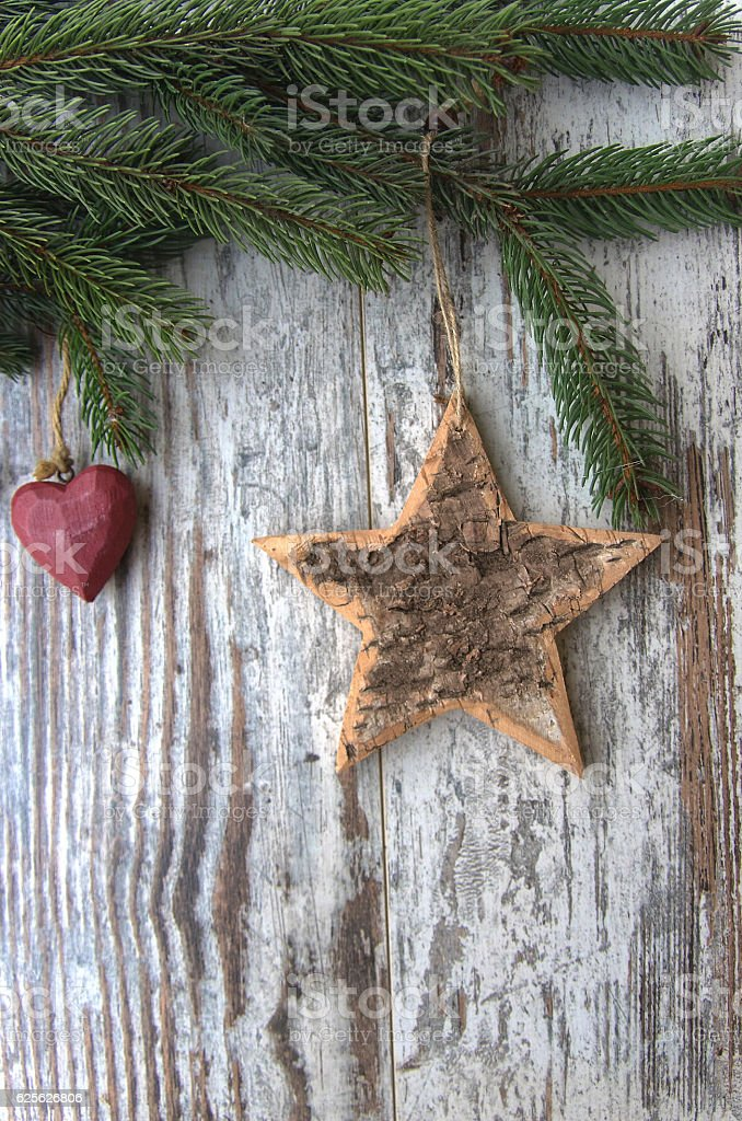 Christmas decoration star, heart, conifer, fir,tree texture stock photo