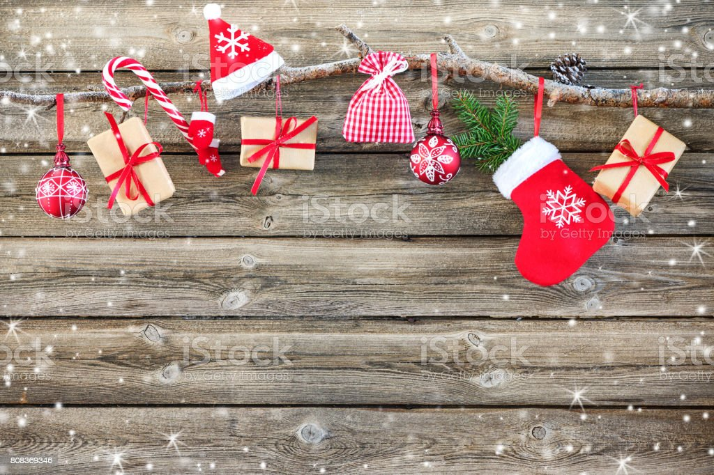 Christmas decoration stocking and gift boxes stock photo