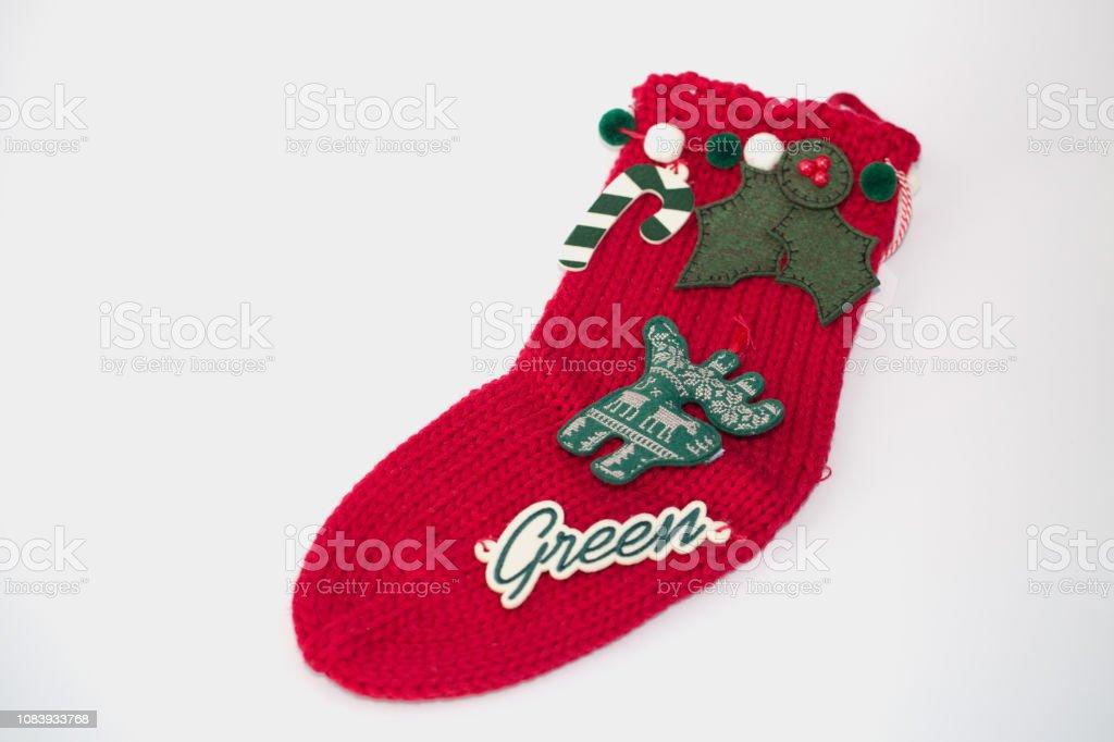 Holidays symbol stocking. Christmas decoration stocking. Concept of...
