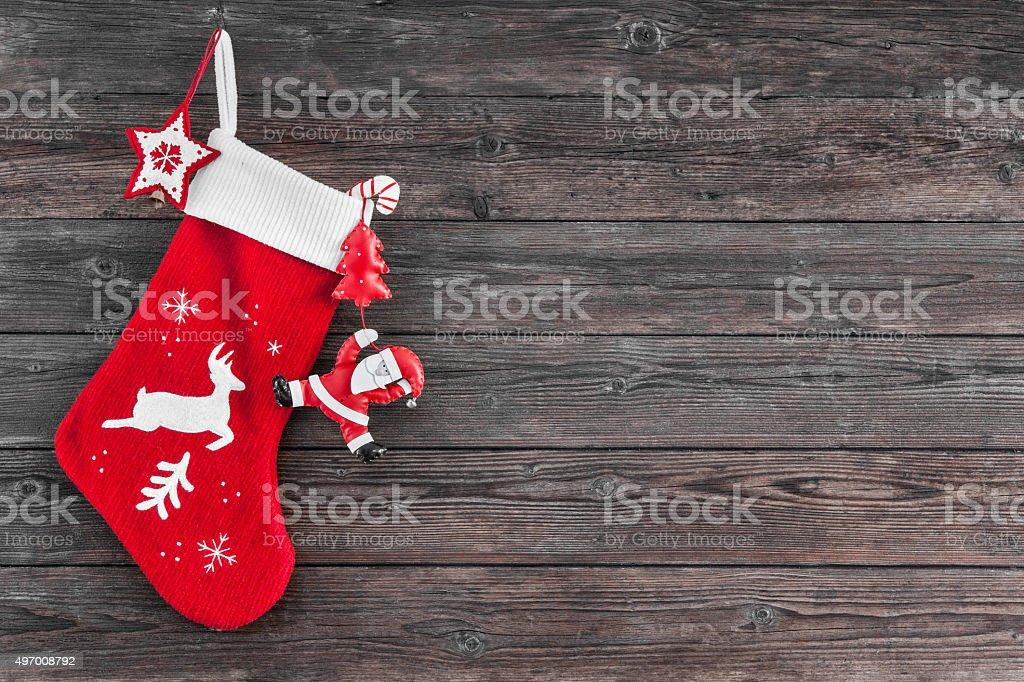 Christmas decoration stocking stock photo