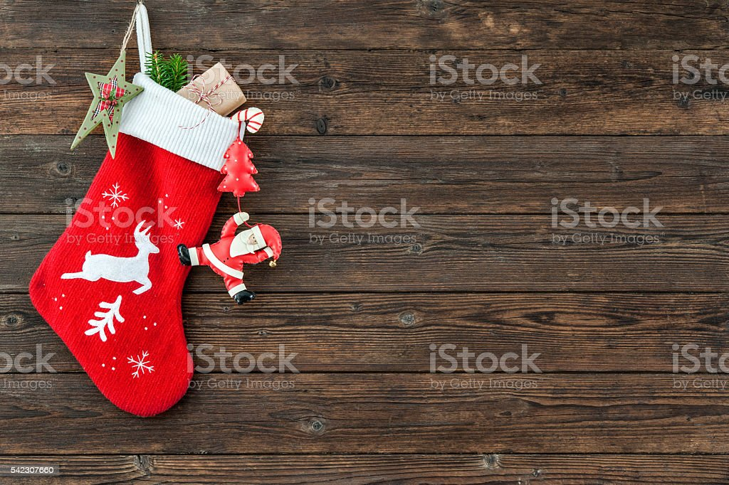 Christmas decoration stocking stock photo