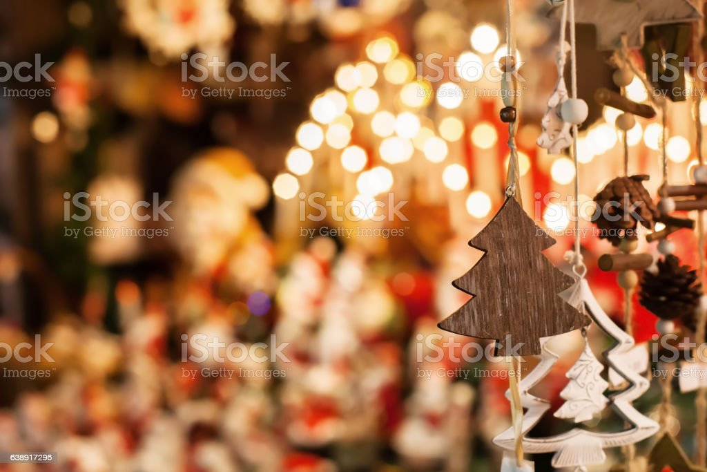 christmas decoration tree in the shop, winter market in Europe - Photo