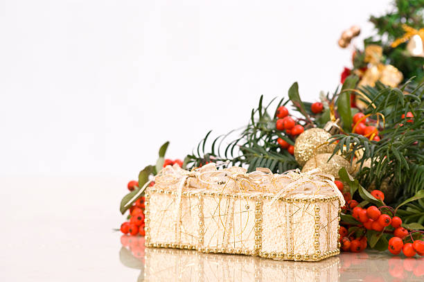 Christmas Decoration with a Presents in Front stock photo