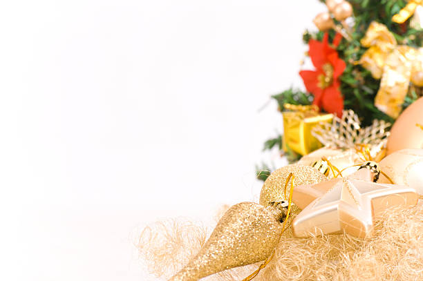 Christmas Decoration with a Tree in the Back stock photo