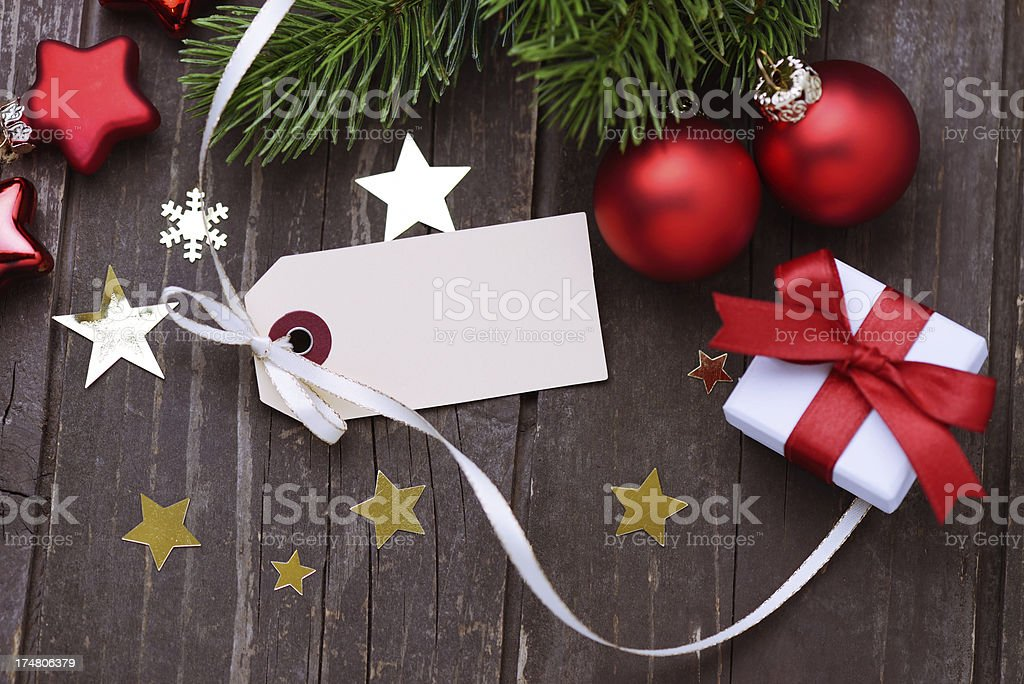 Christmas decoration with an empty label royalty-free stock photo