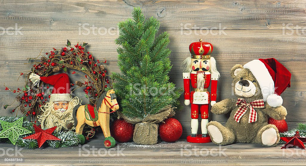 christmas decoration with antique toys teddy bear royalty free stock photo - Bear Christmas Decorations