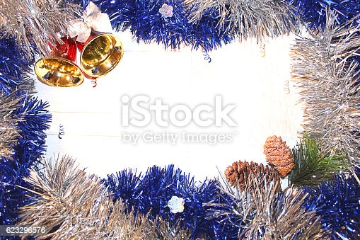 istock Christmas decoration with bells rain 623296576
