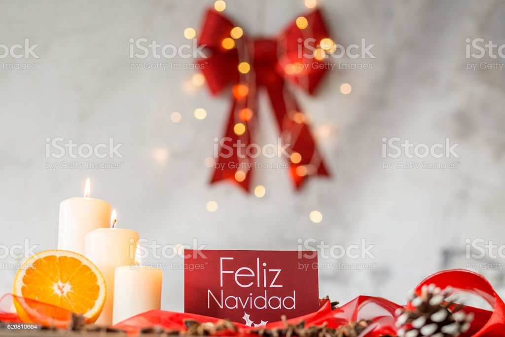 Christmas decoration with bowknot stock photo
