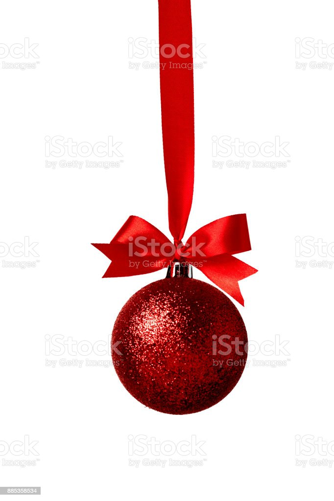 Christmas decoration with bows on white background stock photo