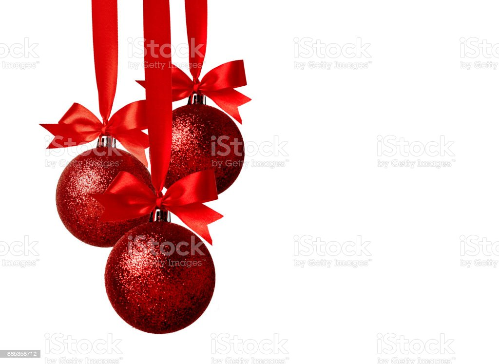 Christmas decoration with bows on white background royalty-free stock photo