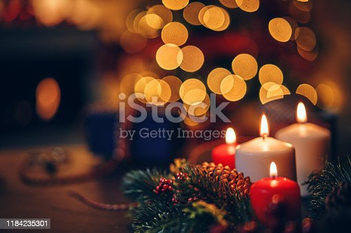Christmas Decoration with Candles and Holiday Lights