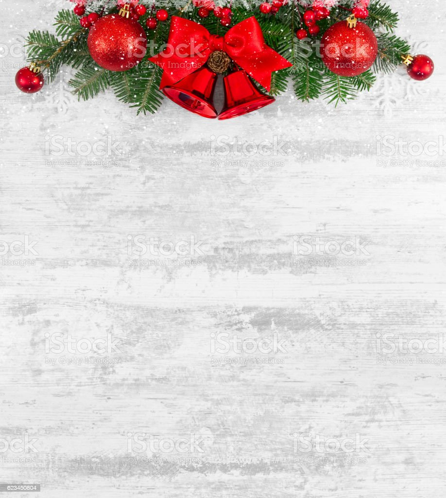 Christmas Decoration with Christmas Ornaments on Old Wooden Board stock photo