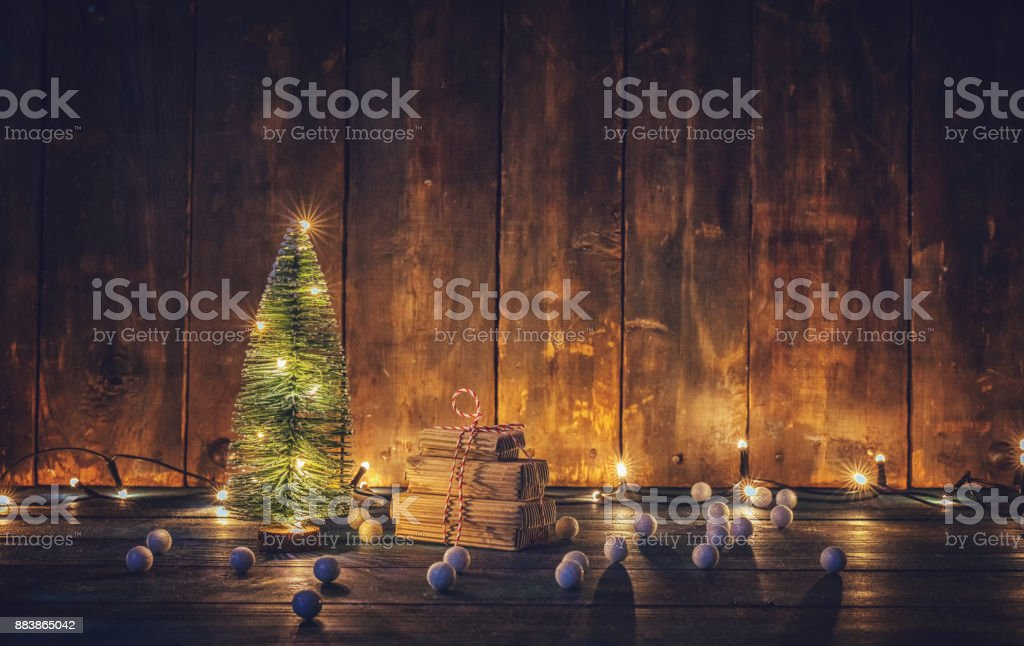 Christmas Decoration with Christmas Tree Ornaments and Holiday Lights