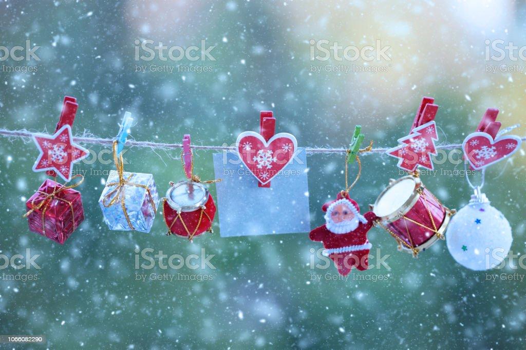 Noel dekorasyon ufuk arka plan ile. stok fotoğrafı