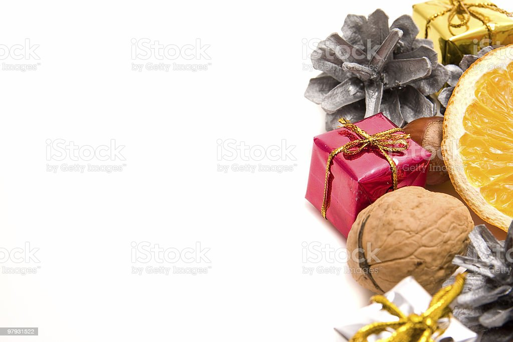 christmas decoration with fruit and nuts royalty-free stock photo