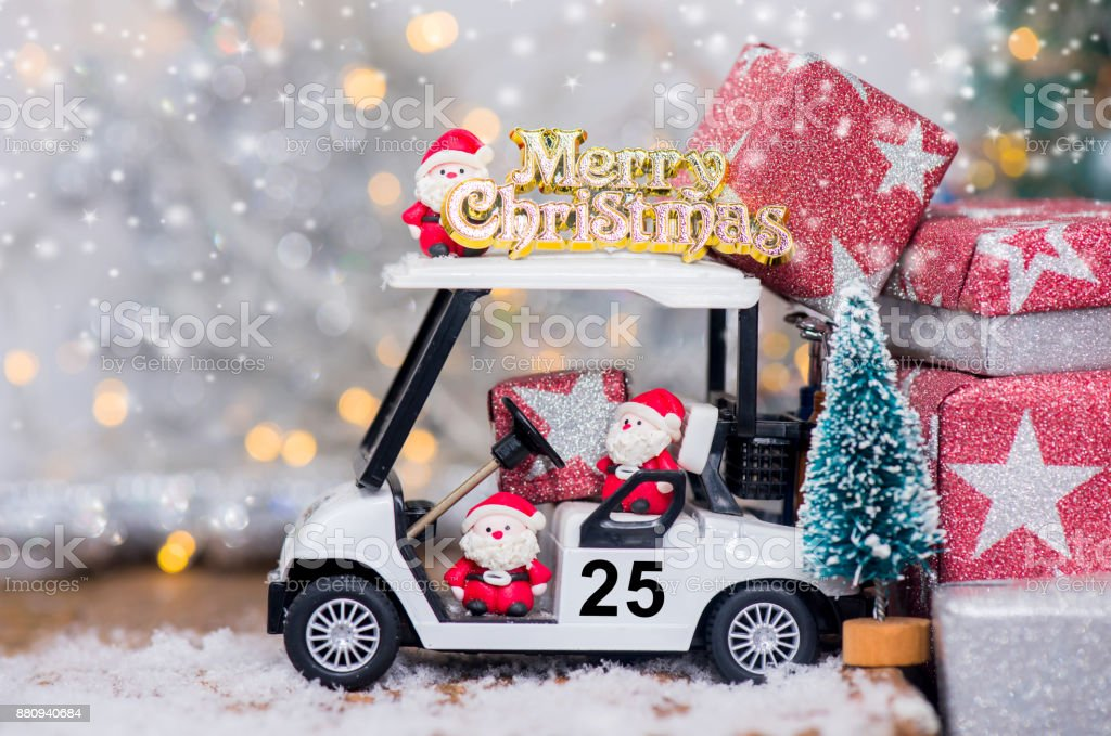 Golf Cart Christmas Decorations.Christmas Decoration With Golf Car On December Stock Photo
