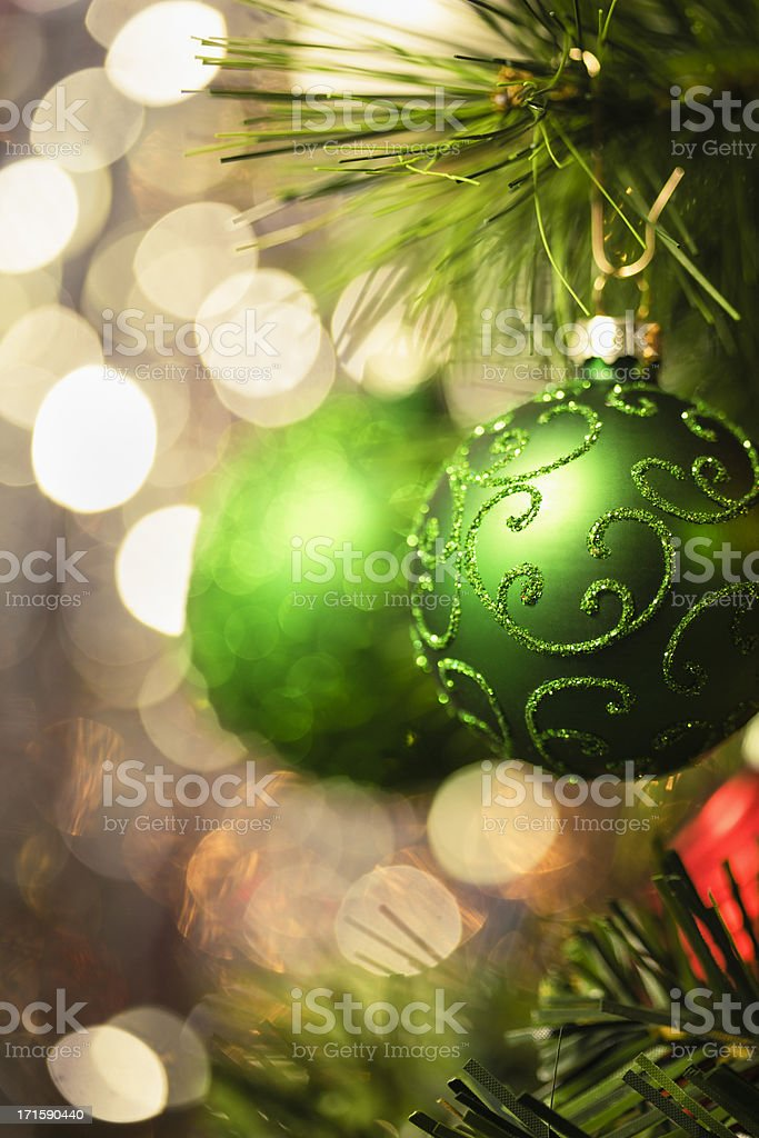 Christmas Decoration with Ornaments and Holiday Lights royalty-free stock photo
