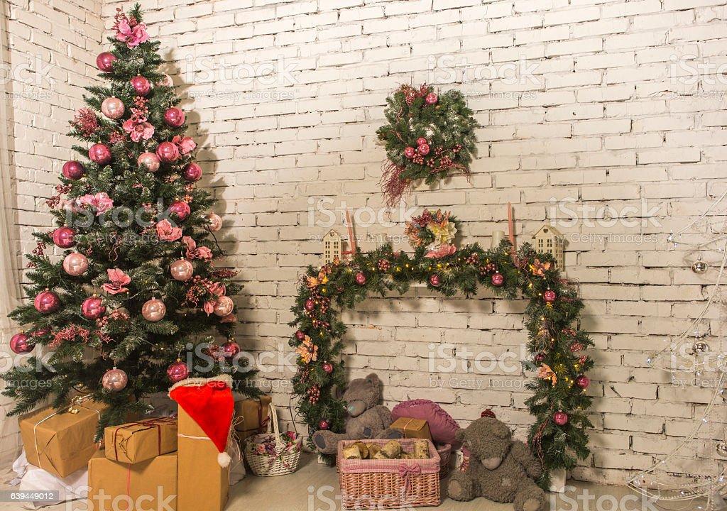 Christmas decoration with pine tree at studio at lviv ukraine stock photo