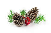istock Christmas decoration with pinecones, fir leaf sprigs and winterberry holly 491487924