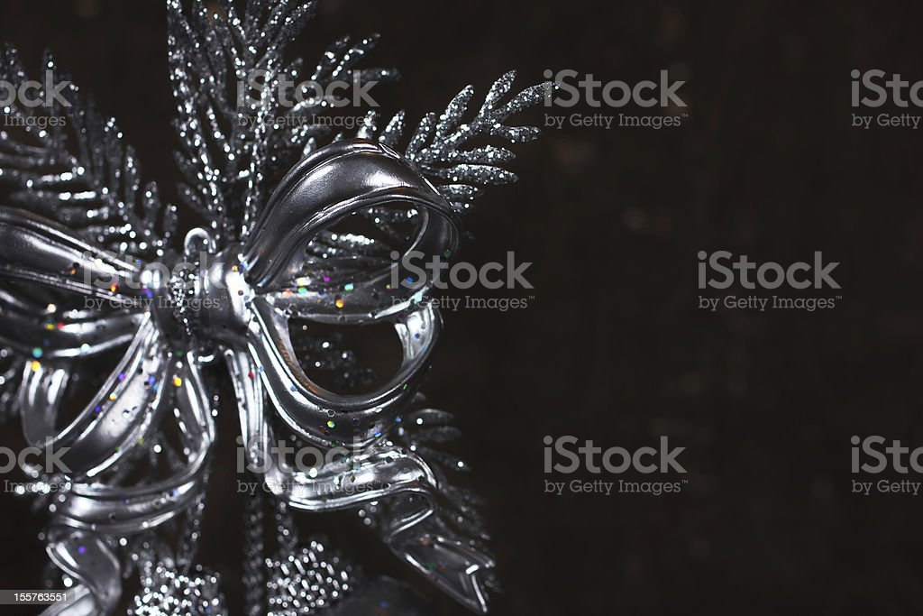Christmas decoration with silver bow royalty-free stock photo