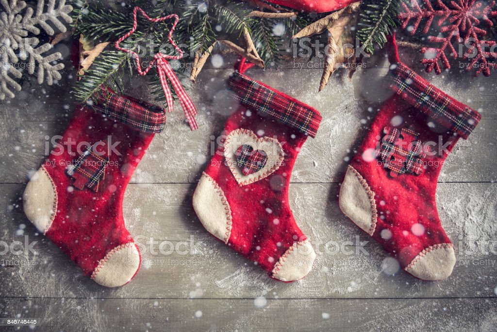 Christmas decoration with socks stock photo