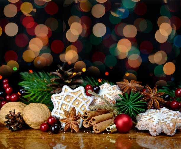 Christmas decoration with sweets and spices stock photo