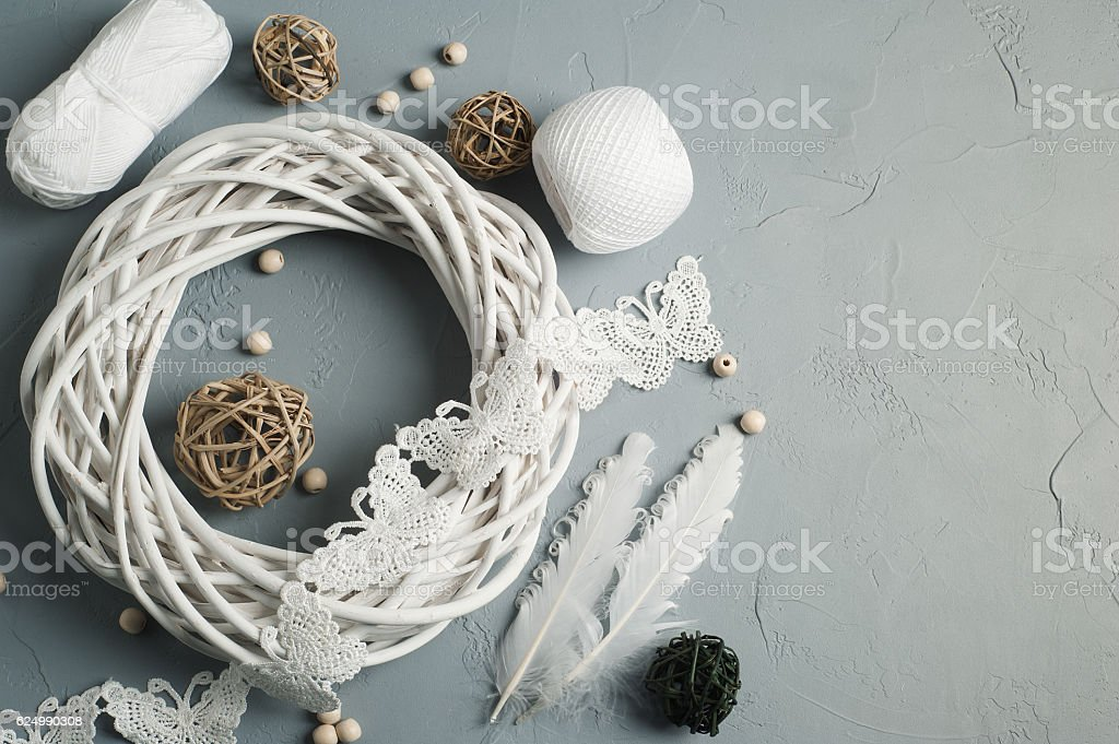 Christmas decoration with wicker ring, laces - Photo