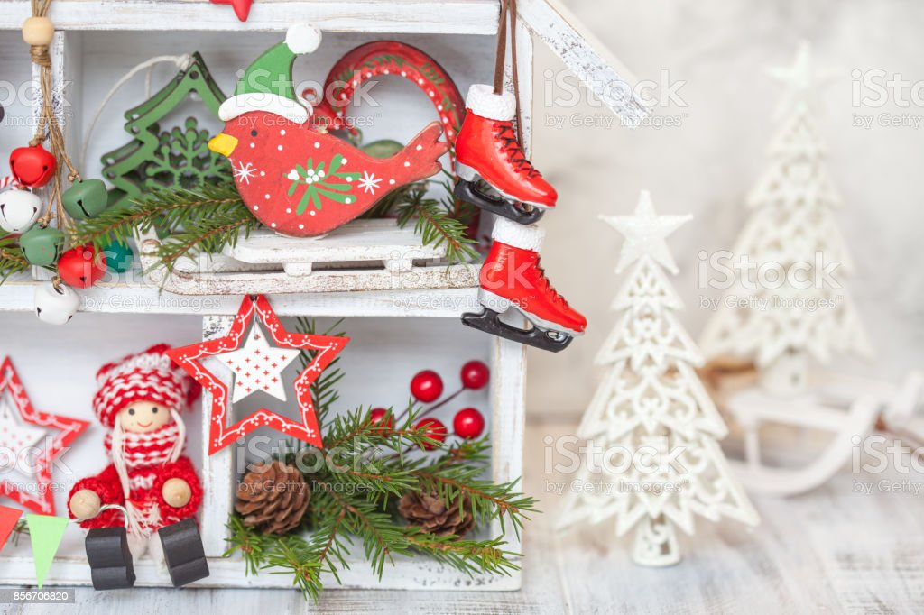christmas decoration with wooden box house royalty free stock photo - Wooden Box Christmas Decorations