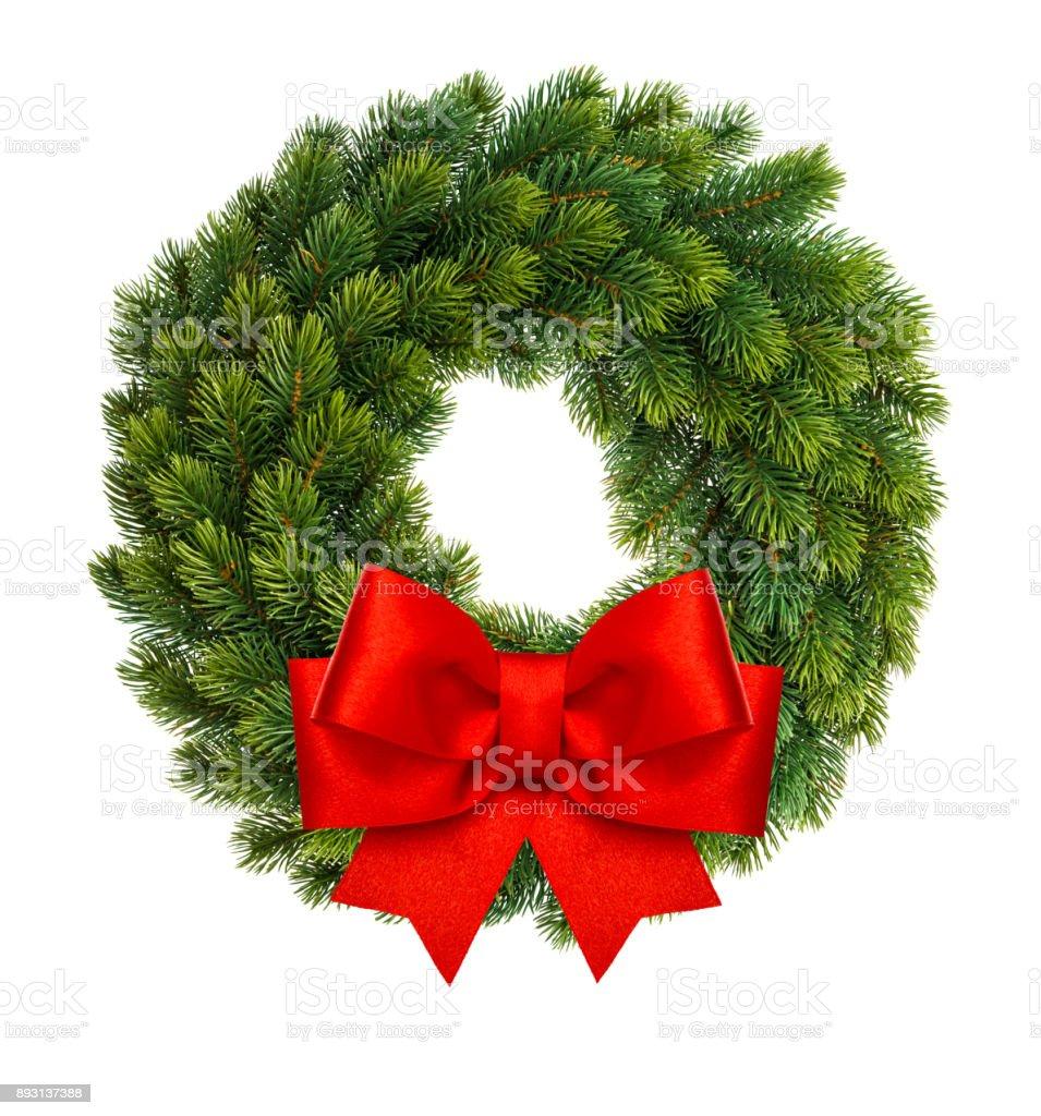 Jul dekoration krans red ribbon bow isolerade vit bildbanksfoto