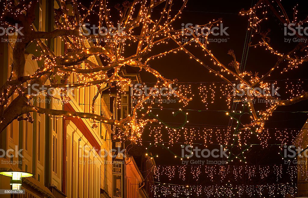 Christmas decorations and atmosphere in Odense in December stock photo