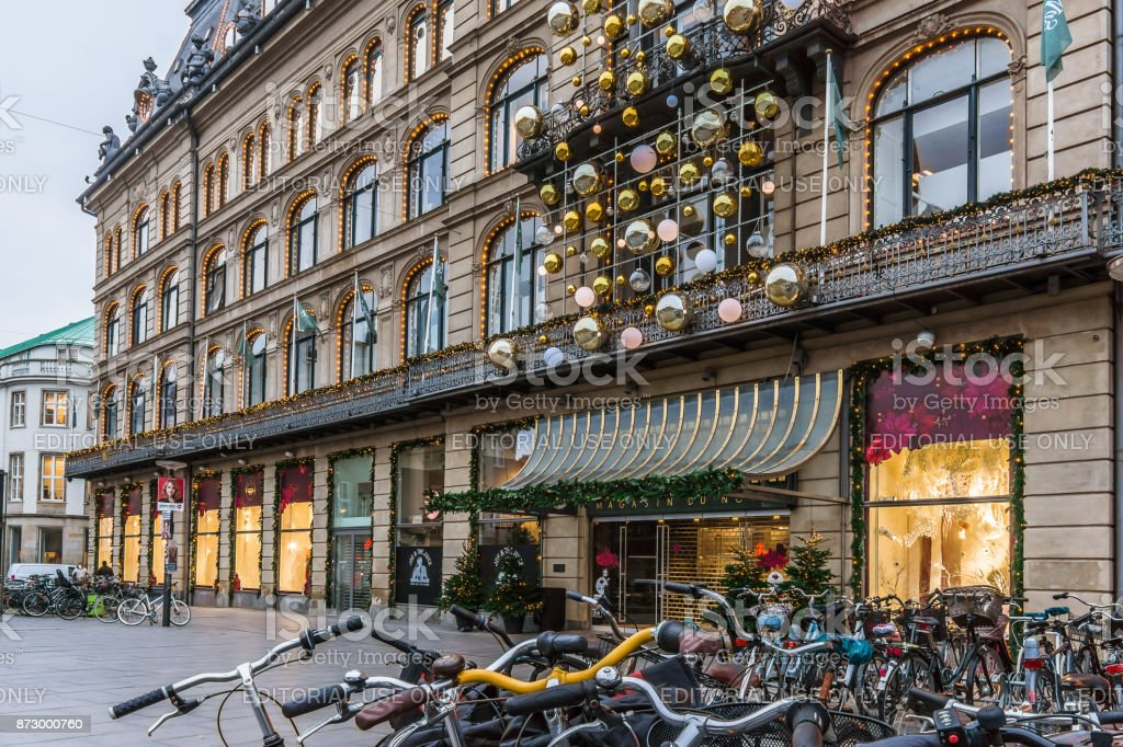 Christmas decorations and bikes at Magasin du Nord in Copenhagen stock photo