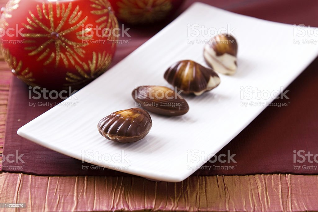Christmas Decorations and Chocolates stock photo