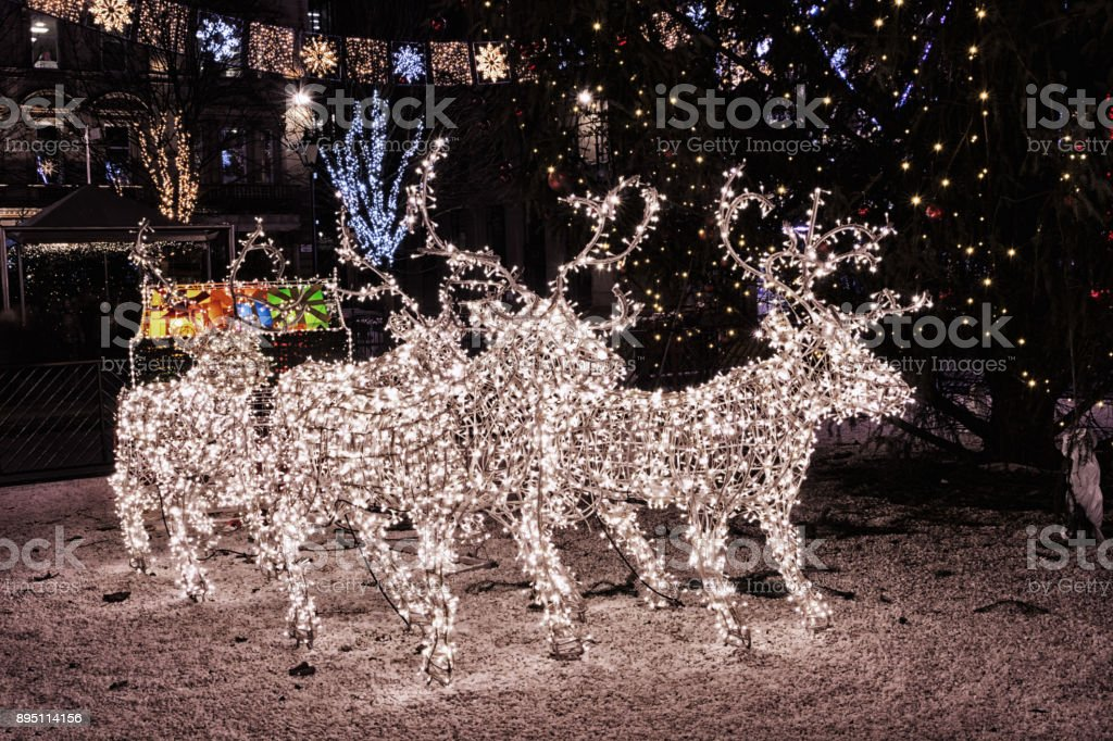 Christmas decorations and Christmas reindeer and sleigh lights at night in  George Square, Glasgow, - Christmas Decorations And Christmas Reindeer And Sleigh Lights At