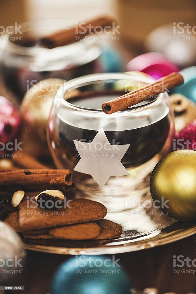 Christmas decorations and glögg royalty-free stock photo