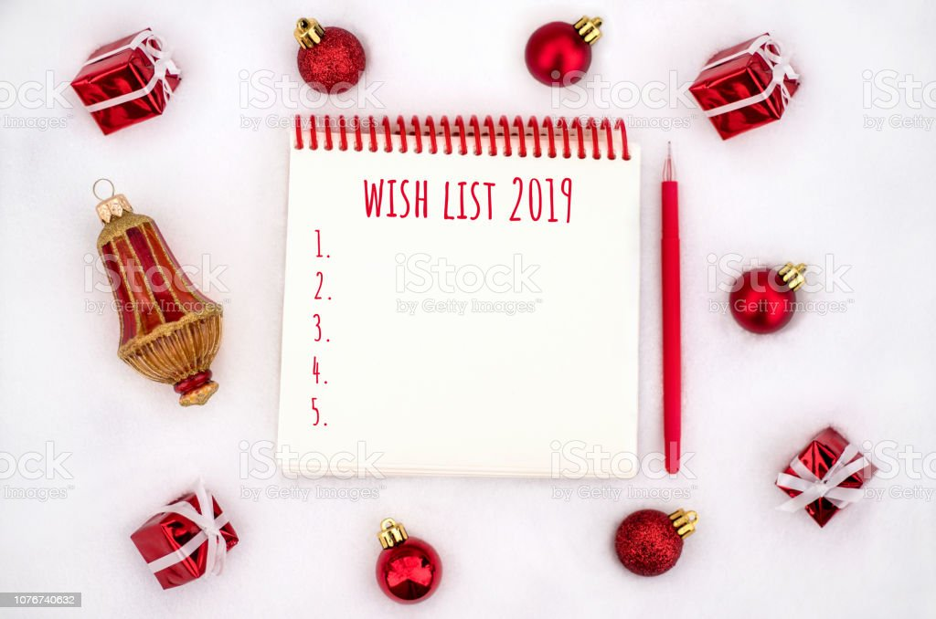 Christmas Wish List 2019.Christmas Decorations And Notebook With Wish List Stock