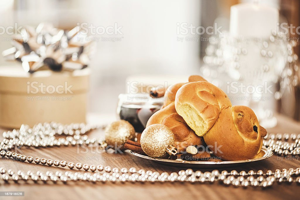 Christmas decorations and saffron bun royalty-free stock photo