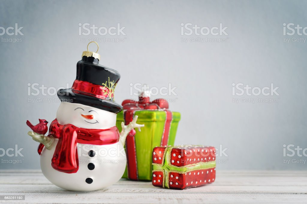 Christmas decorations and snowman royalty-free 스톡 사진