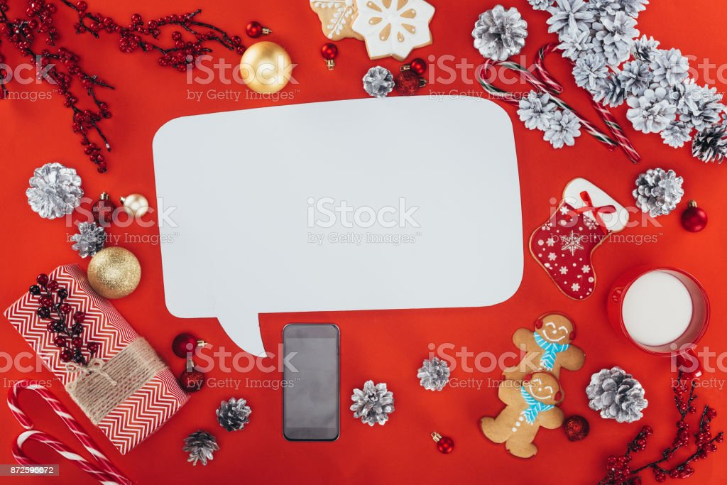 christmas decorations and speech bubble stock photo