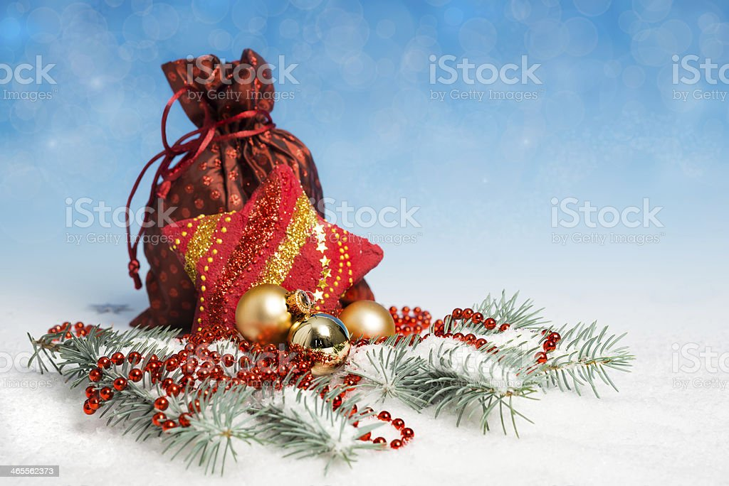 Christmas decorations and wrapped gifts royalty-free stock photo