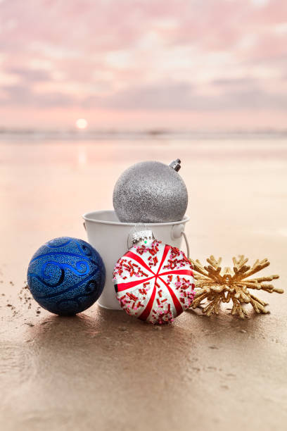 Christmas Decorations at Carlsbad State Beach at Sunset, Holiday Concept stock photo