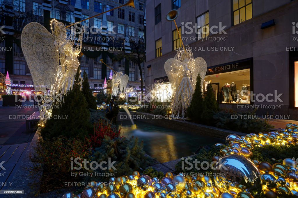 Christmas Decorations at Rockefeller Center stock photo