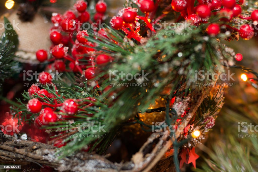 christmas decorations balls in a basket garland golden rays royalty free stock