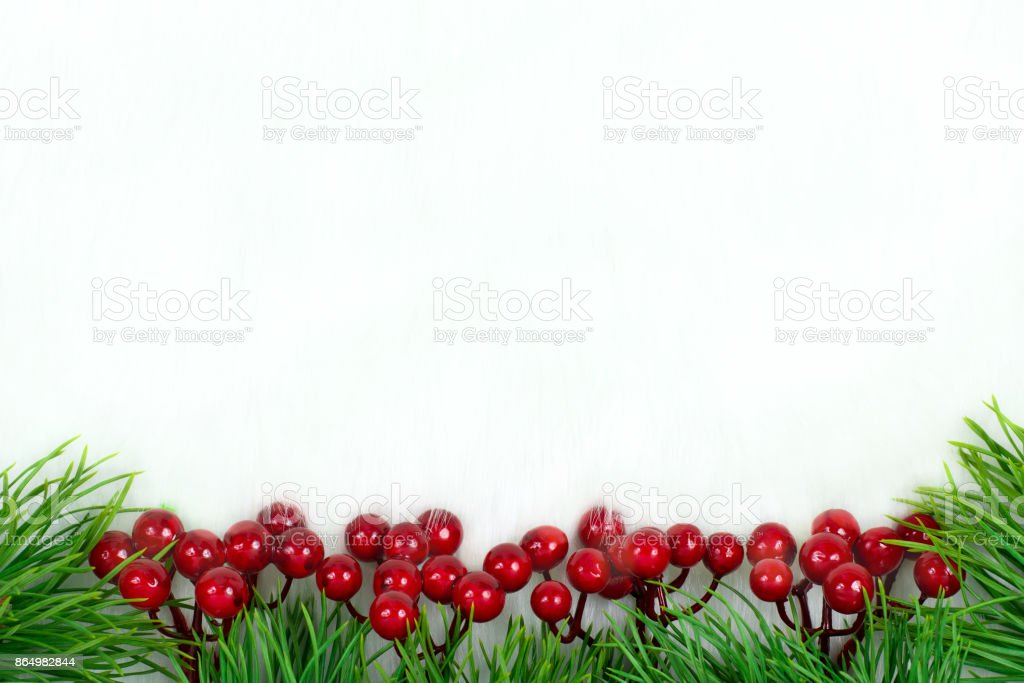 Christmas Decorations.Christmas Decorations Berries And Christmas Trees Stock Photo Download Image Now
