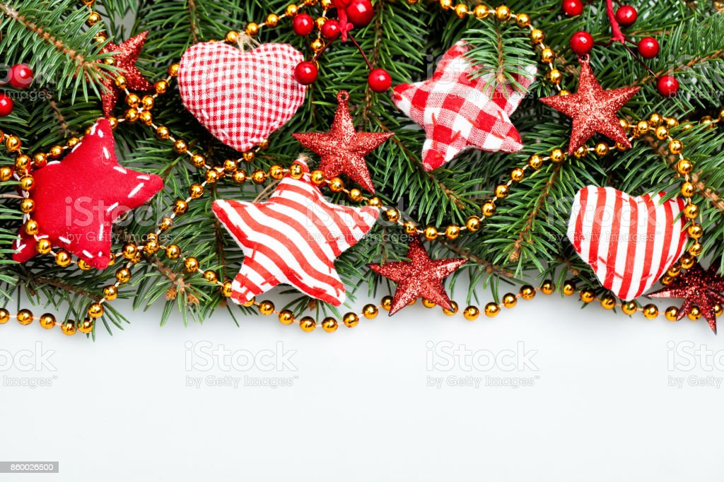 Christmas Decorations Border On White Background Xmas Tree Twig Red Stars And Gold Garland Stock Photo Download Image Now Istock