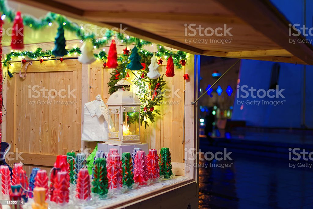 Christmas decorations displayed for sale stock photo
