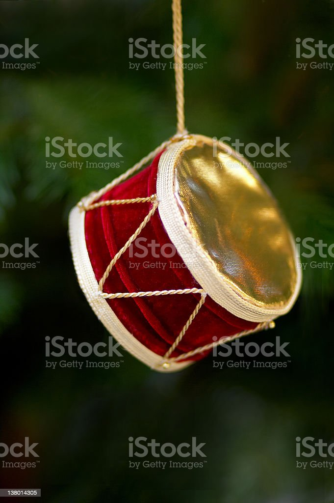 Christmas decorations: Drum royalty-free stock photo
