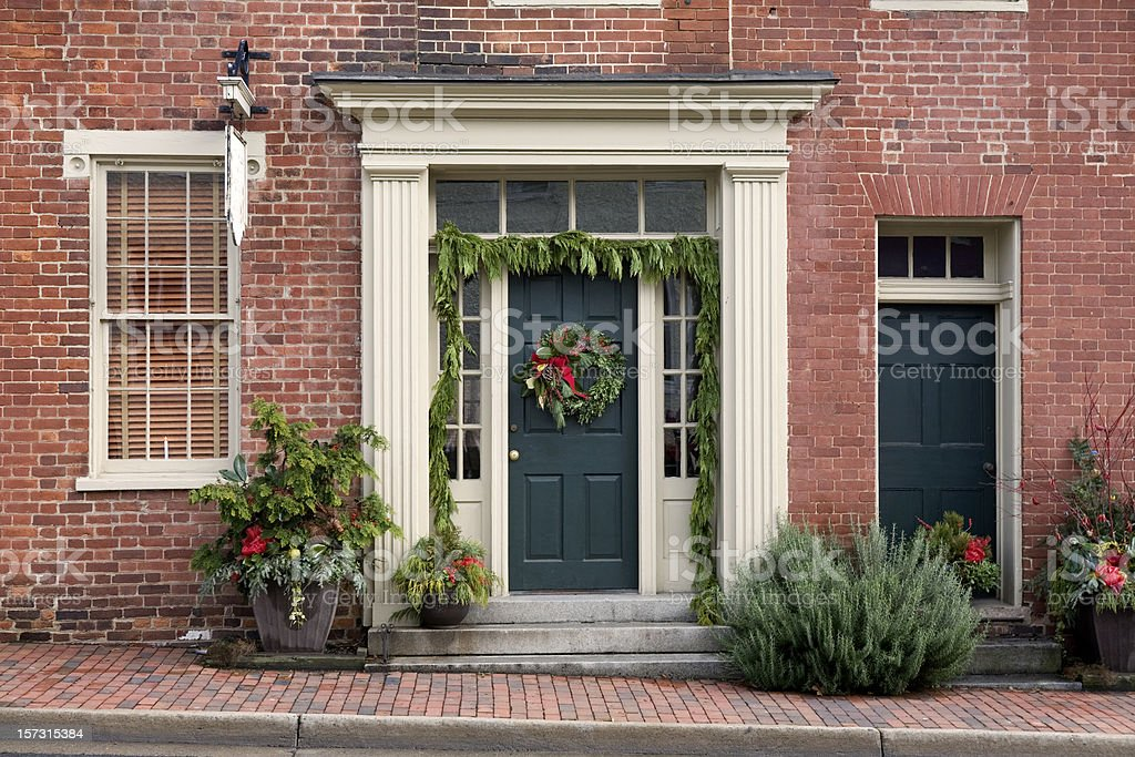 Christmas Decorations Front Porch Home royalty-free stock photo
