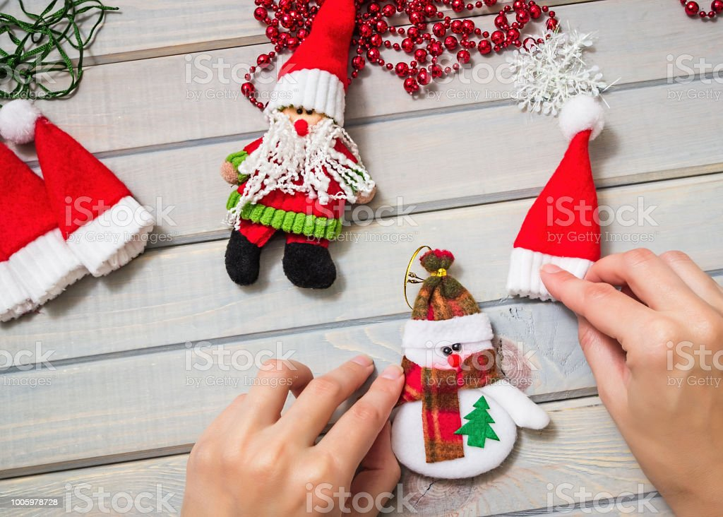 Adornos De Navidad Hechos A Mano. Regalos De Navidad Hechos A Mano. Vista  Superior